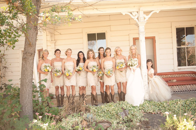 Pale yellow bridesmaid dresses with cowboy boots