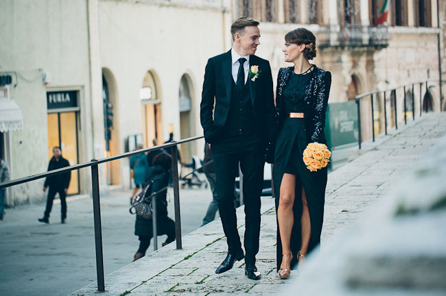 bride and groom in italy