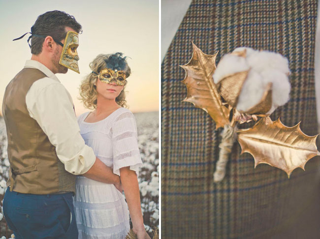 cotton and gold boutonniere