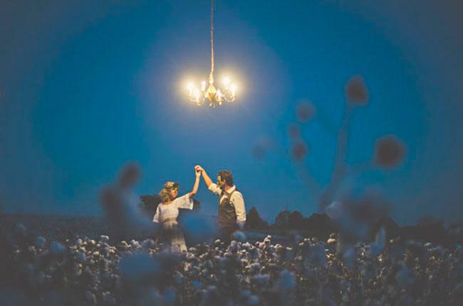 chandelier in a field