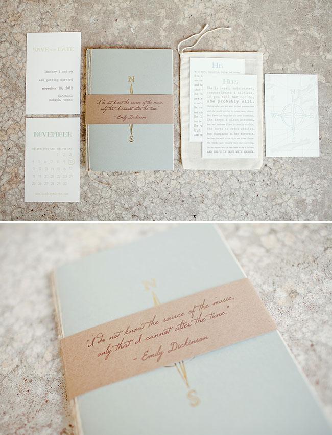 compass inspired wedding invitations