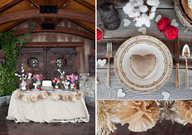 burlap heart place setting