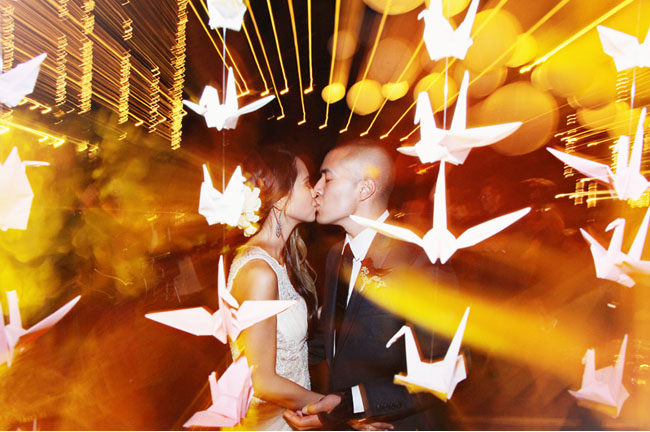 bride and groom paper cranes