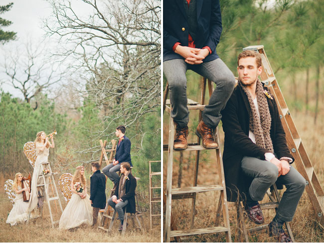 wedding party on ladders