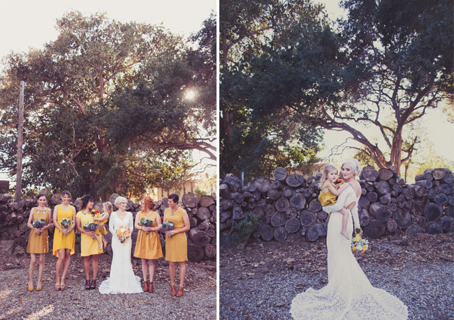 bridesmaids in mustard
