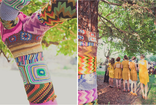 crochet covered tree