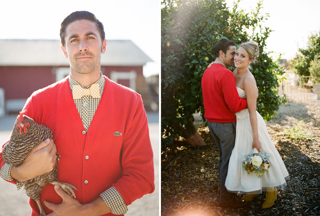 red cardigan groom