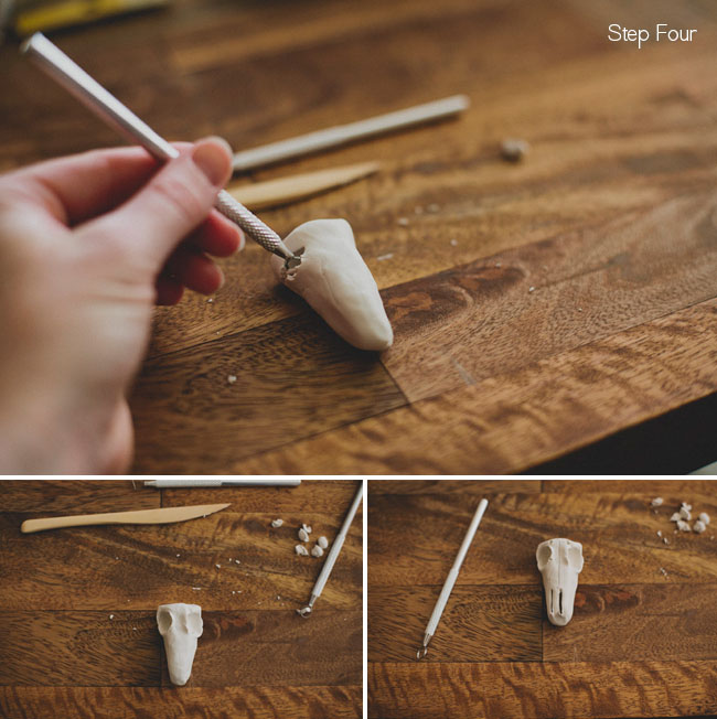 Diy clay steer skull escort card for How to carve a wooden ring