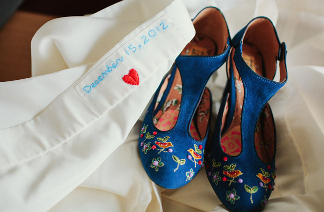blue floral heels