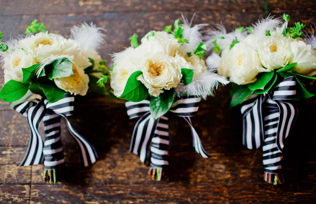 striped bouquet wrap