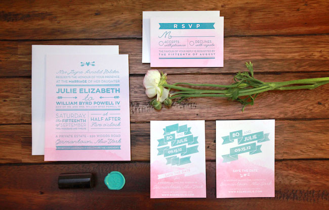 pink ombre invitation