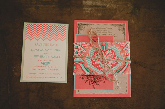 pink and teal invite