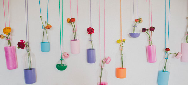 dipped bottles with flowers