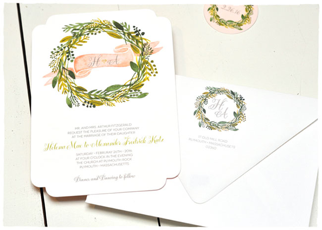 Sweet Greens wedding invitations