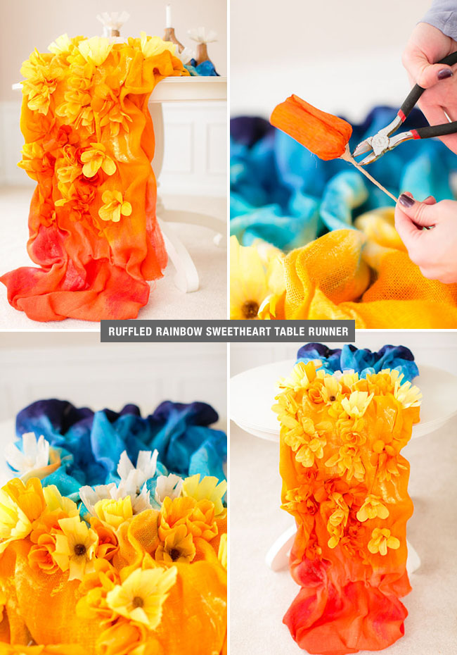 Rainbow Ruffled Table Runner