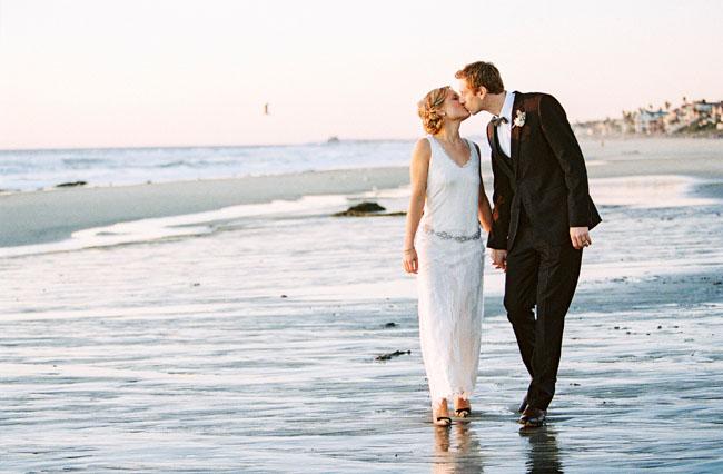 Simple Wedding Dresses Nz: Glam California Beach Wedding: Tara + Dustin