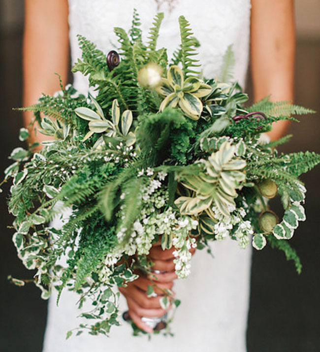 Modern wedding inspiration with lots of ferns green for A lot of different flowers make a bouquet