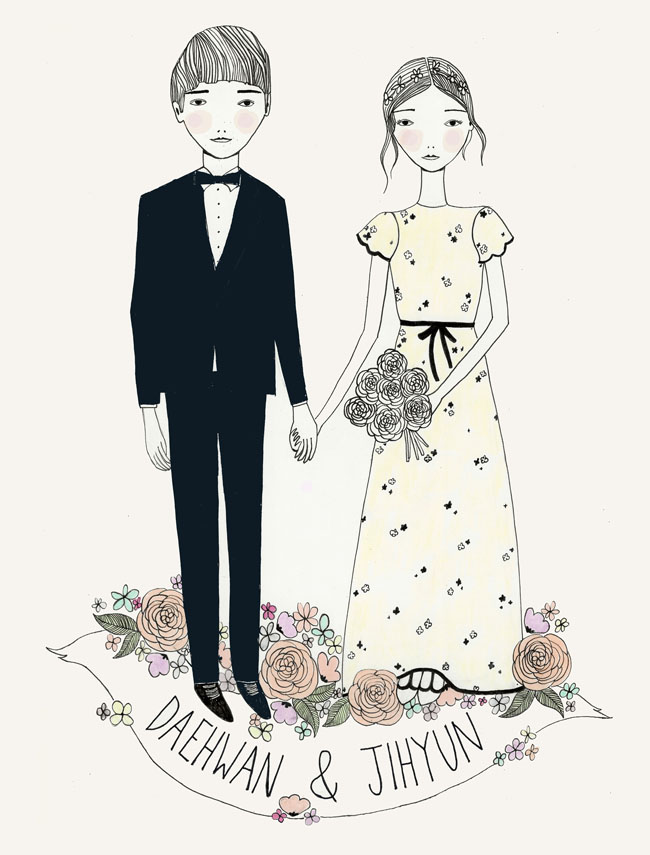 illustrated wedding invites
