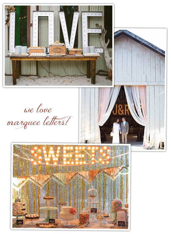 marquee letters weddings