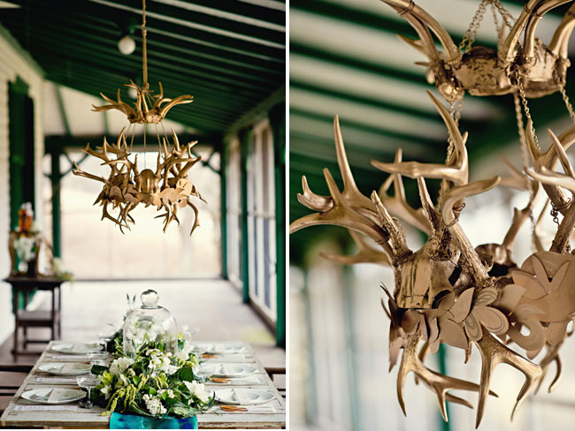 gold antler chandelier