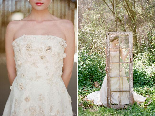 ruche wedding dress