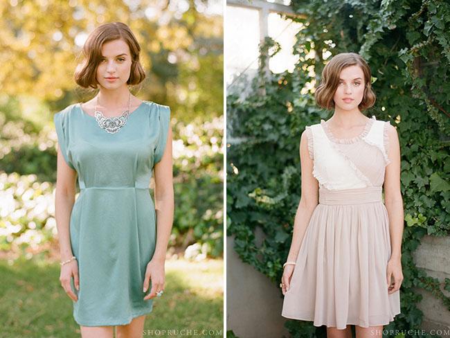 ruche bridesmaids dress