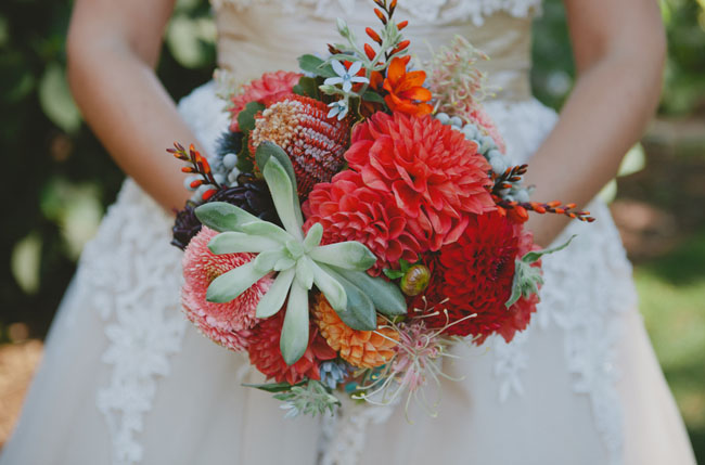red and succulent bouquet