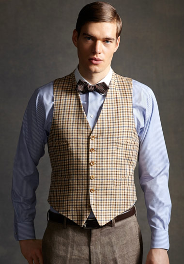 The Great Gatsby Collection Tattersall Vest Green