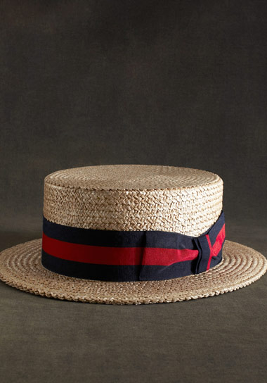 The Great Gatsby Collection Straw Boater Hat Green
