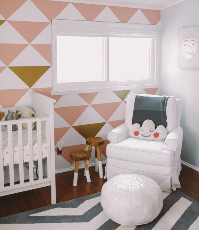 modern hip baby girl nursery