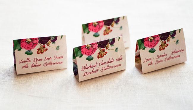 floral dessert tags