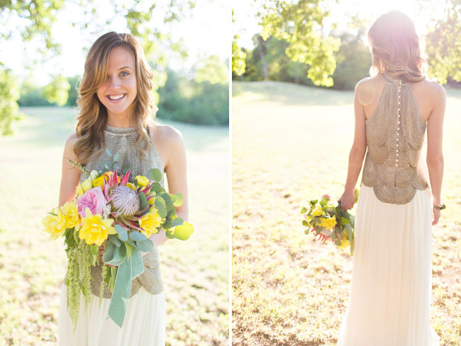 metallic bride dress