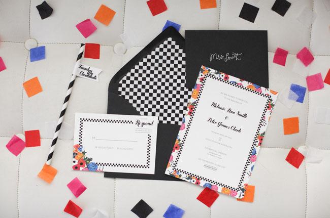 checkered invitation