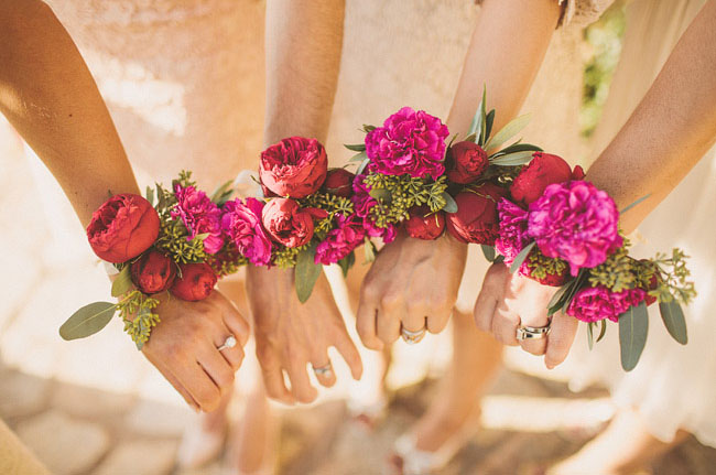 pink wedding corsages
