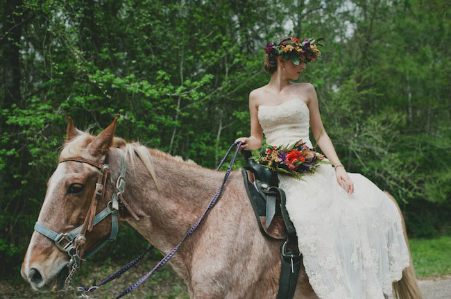 bride on a horse