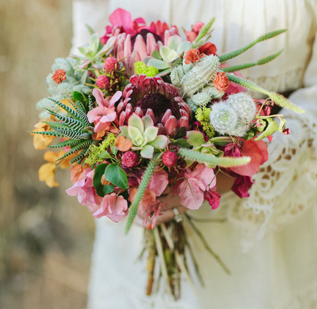 A Single Bloom Protea Bouquet: Latin American Wedding Inspiration