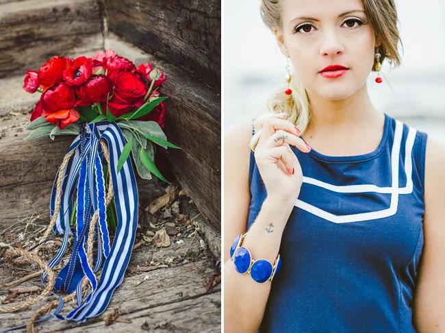 blue striped ribbon bouquet