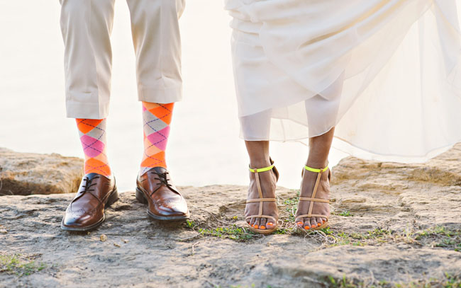 neon bride and groom shoes