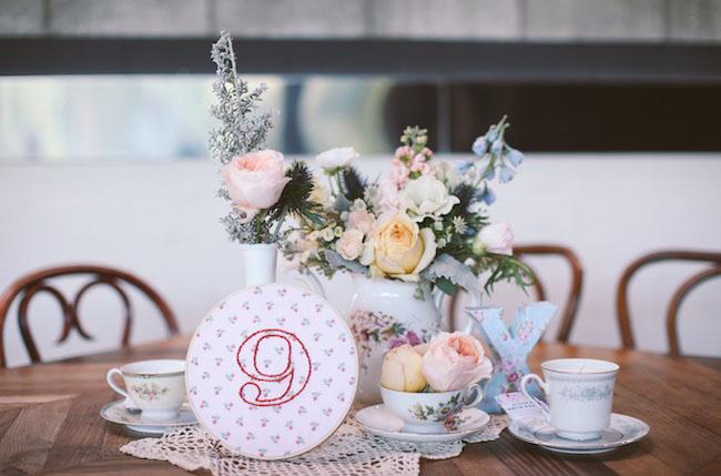tea cup table decor
