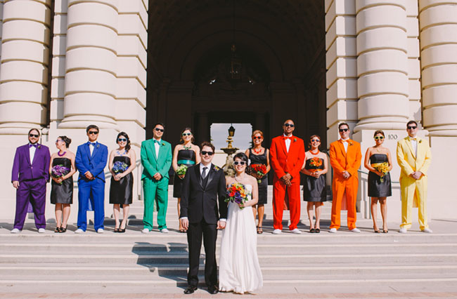 Whimsical rainbow wedding lisa tien junglespirit