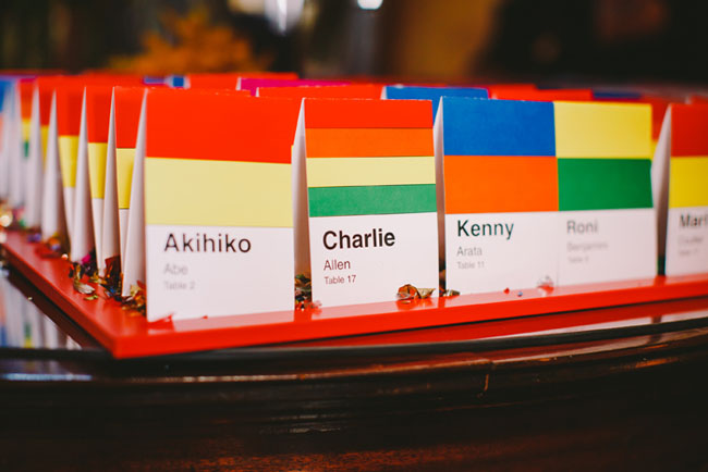 rainbow seating cards