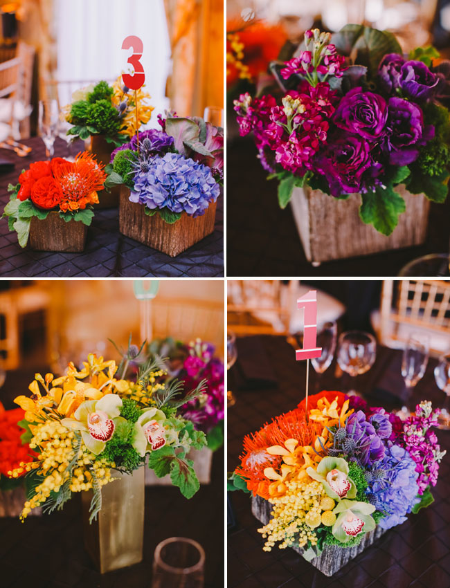 rainbow centerpieces. rainbow flower wedding cake