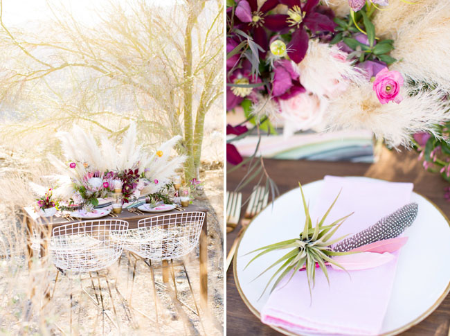 pink boho tablescape