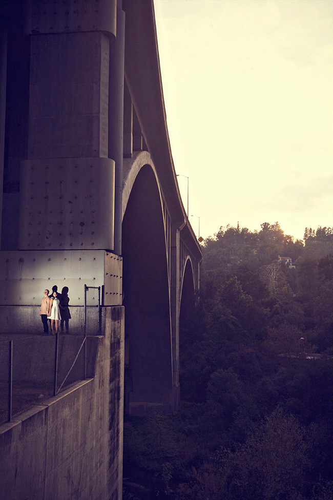 engagement photo under a bridge
