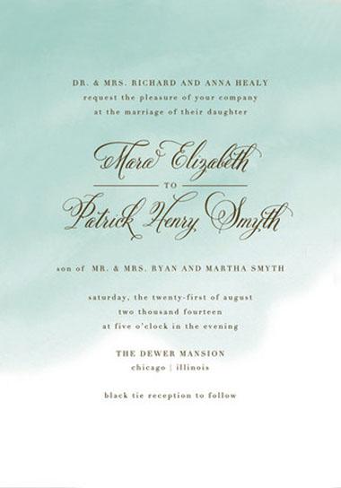 watercolor wash wedding invitations green wedding shoes