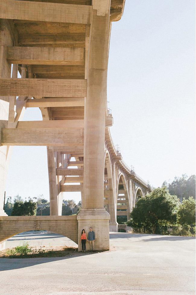 engagement photos under a bridge