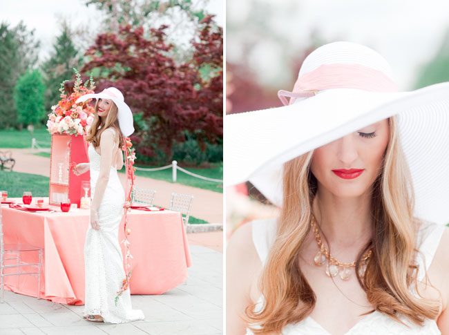 bride wearing floppy hat