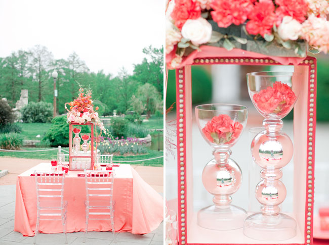 traditional coral tablescape
