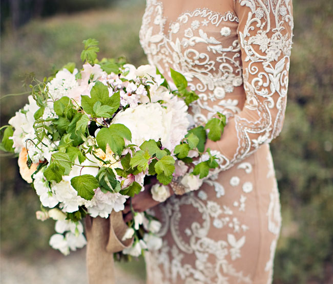 flowy green and white bouquet