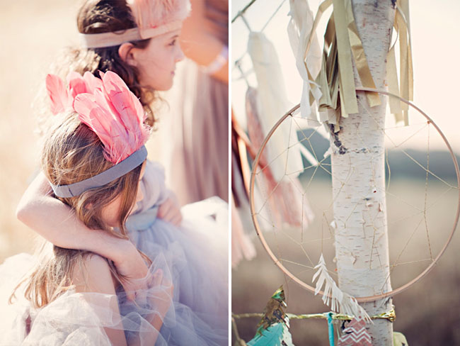 indian feather flower girls